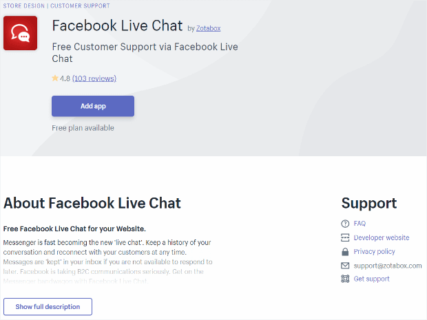 Shopify Facebook live chat