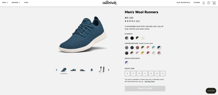 product page that sells Ecommerce